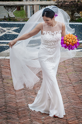 destination wedding dress3 A Colorful Destination Wedding on the Italian Riviera