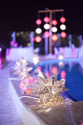 destination wedding lanterns Beach Wedding in Cancun, Mexico