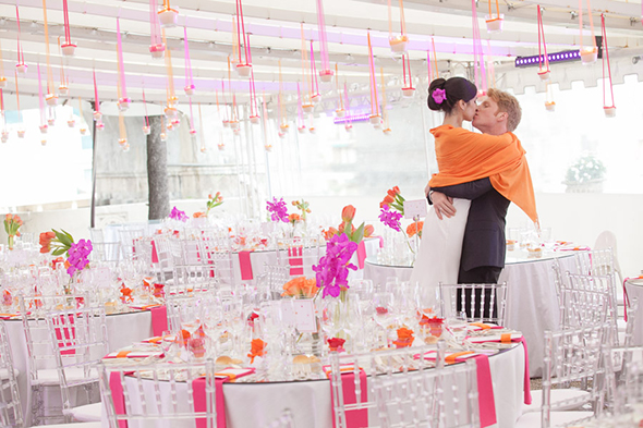 orange wedding decor A Colorful Destination Wedding on the Italian Riviera