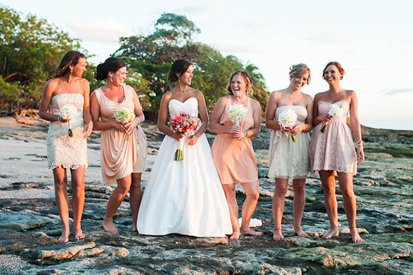 pale pink bridesmaid dresses A Rustic Beach Wedding in Tamarindo, Costa Rica