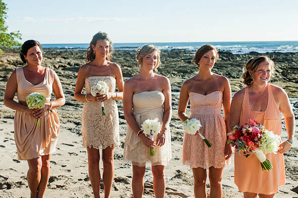 peach bridesmaid dresses A Rustic Beach Wedding in Tamarindo, Costa Rica