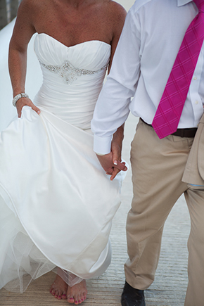pink wedding attire Beach Wedding in Cancun, Mexico