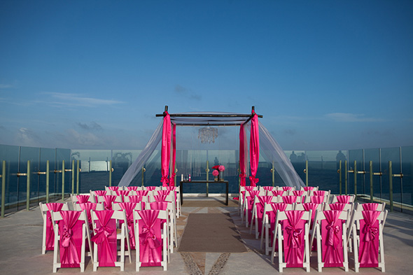 pink weddings Beach Wedding in Cancun, Mexico