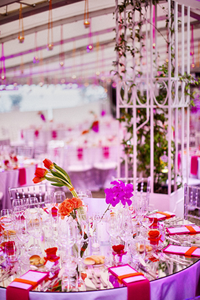 purple wedding lighting A Colorful Destination Wedding on the Italian Riviera
