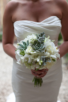 succulent bouquet Chevron Inspired Beach Wedding in Costa Rica