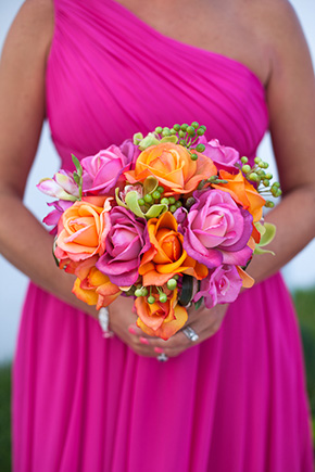 tropical bridal bouquet Beach Wedding in Cancun, Mexico