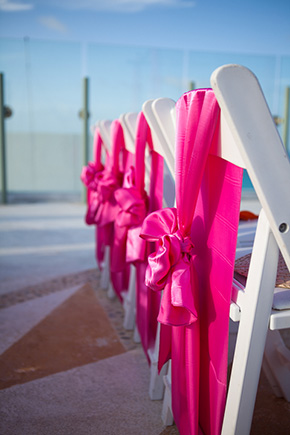 wedding chair ties Beach Wedding in Cancun, Mexico