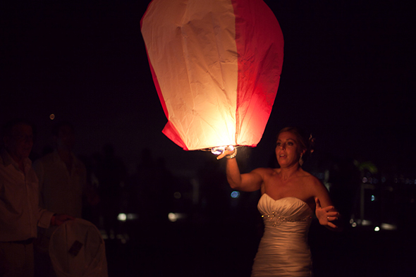 wedding lantern release Beach Wedding in Cancun, Mexico
