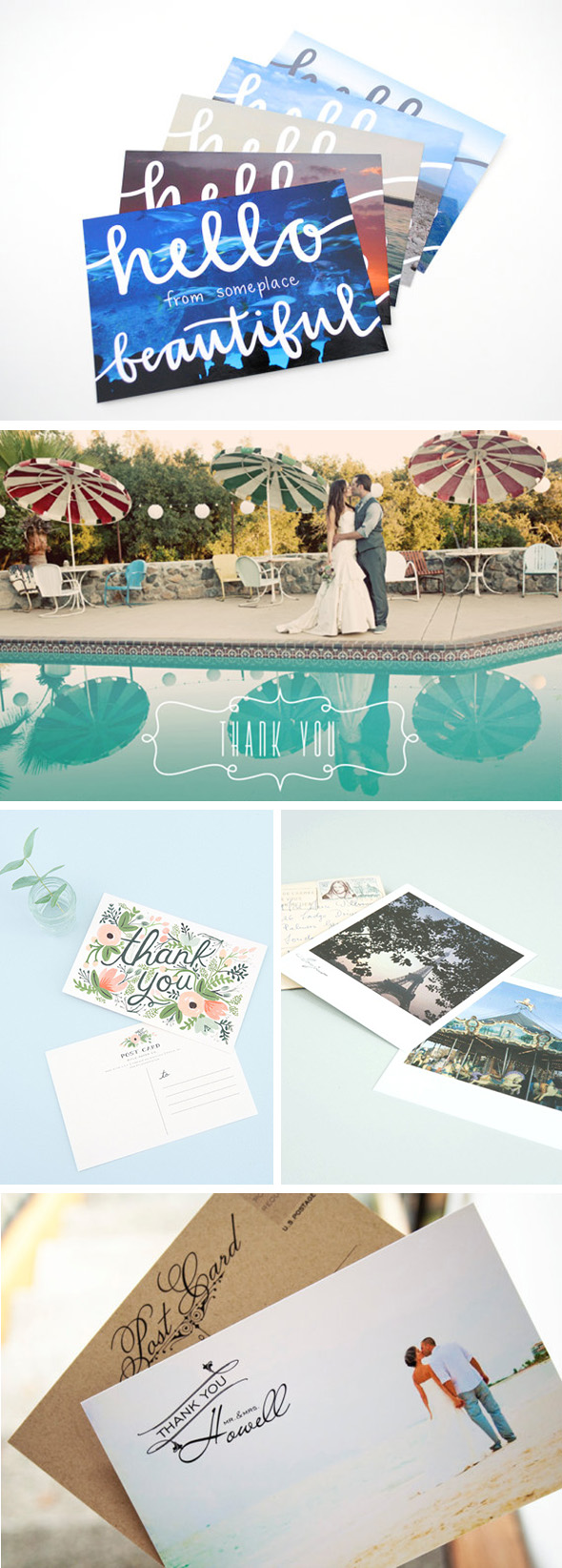 wedding thank you note postcards Destination Wedding Thank You Postcards