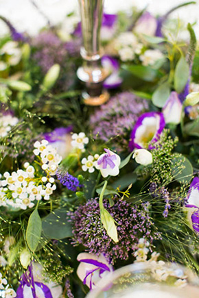 purple wedding flowers1 A Rustic Wedding in Ireland
