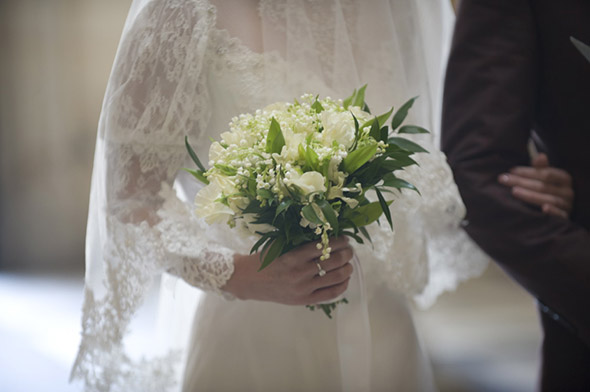 white bridal bouquet An Intimate Elopement in Paris, France
