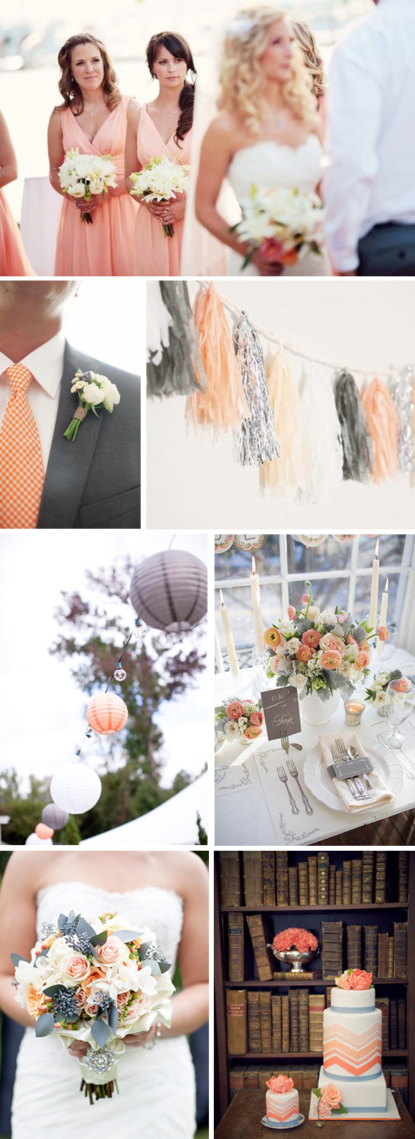 peach and grey weddings