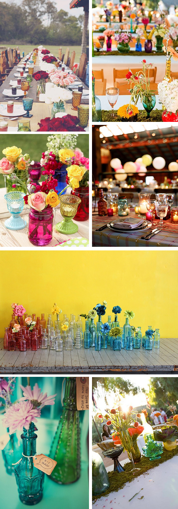 colored glass centerpieces