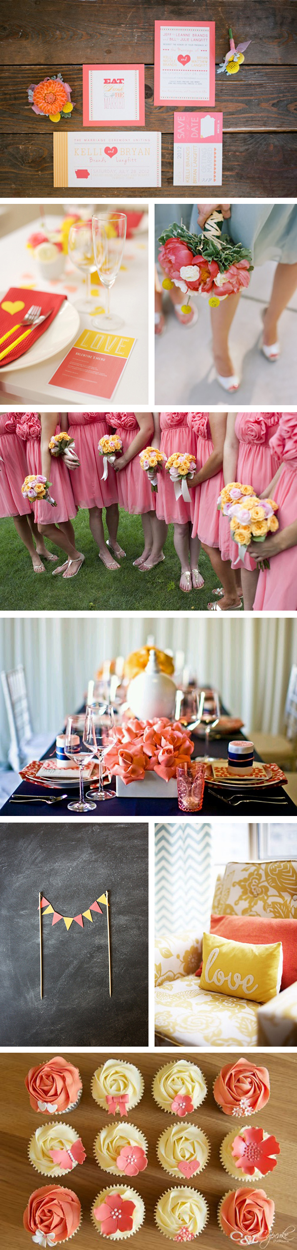 coral and yellow weddings