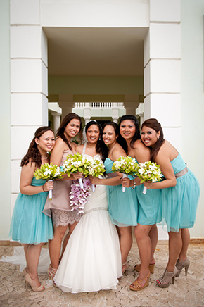 teal bridesmaid dresses Montego Bay, Jamaica Destination Wedding