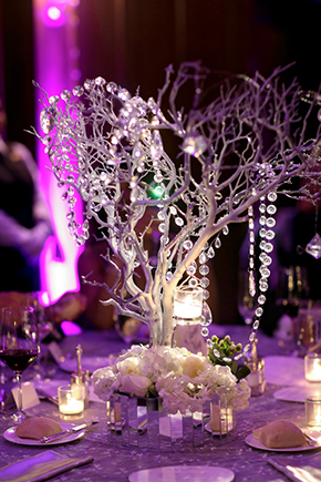 crystal centerpieces A Winter Wonderland Wedding in Park City, Utah