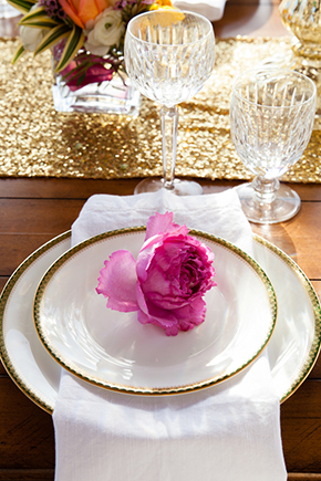 fuschia and gold wedding