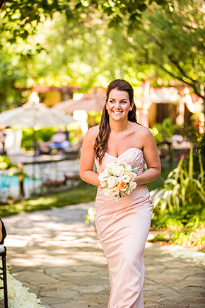 peach bridesmaid dress An Intimate Destination Wedding at Kenwood Inn and Spa in Sonoma