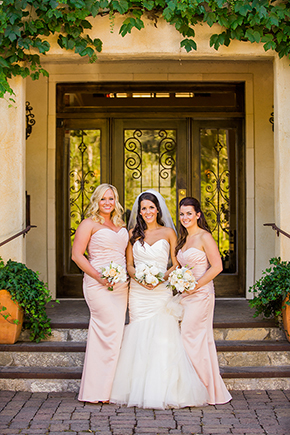 peach bridesmaid dresses An Intimate Destination Wedding at Kenwood Inn and Spa in Sonoma