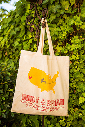 welcome gift bags An Intimate Destination Wedding at Kenwood Inn and Spa in Sonoma