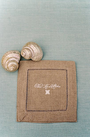 custom hemstitch napkins1 Destination Wedding Paper Details by Laura Hooper