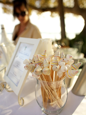custom shell swizzle sticks1 Destination Wedding Paper Details by Laura Hooper