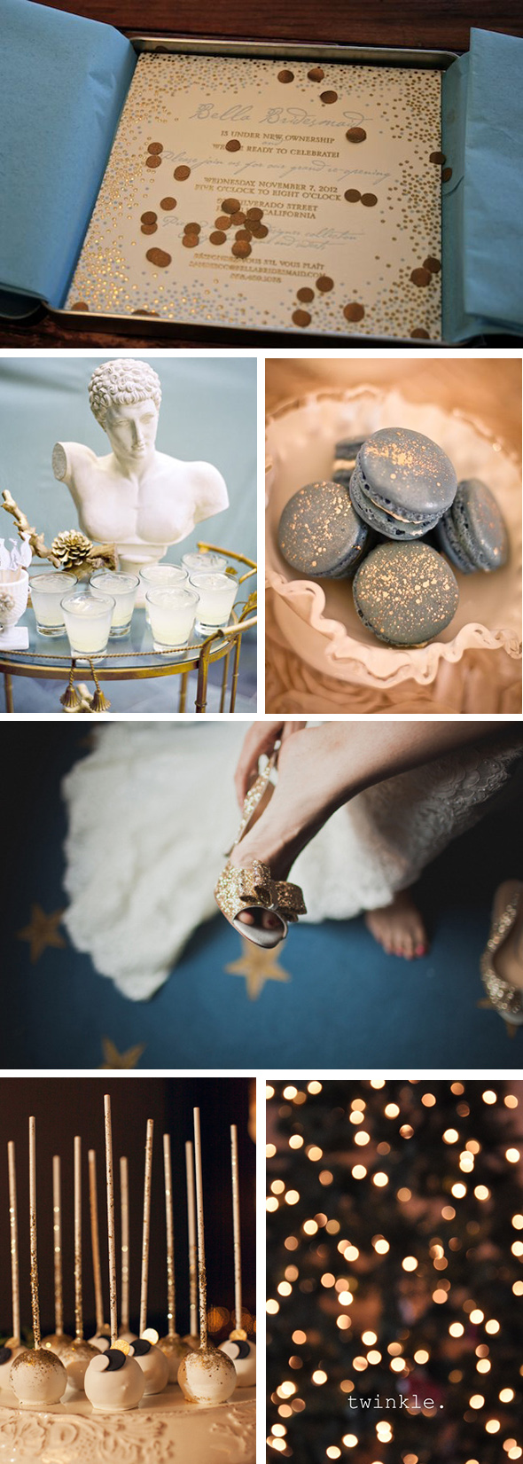 gold and blue weddings