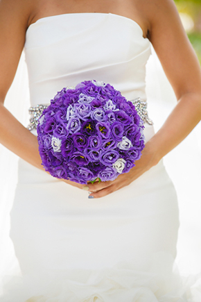 purple bouquet A Formal Beach Wedding in Turks & Caicos