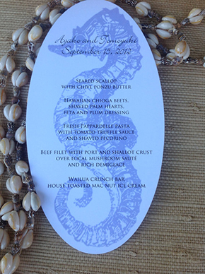 seahorse invitation Destination Wedding Paper Details by Laura Hooper