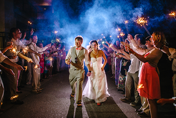 wedding sparkler sendoff Hiring a Destination Wedding Photographer