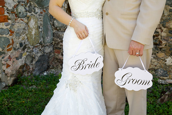 bride groom signs St. John Beach Destination I Do