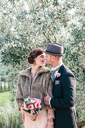 pink wedding dress Vintage Wedding Details in Tuscany