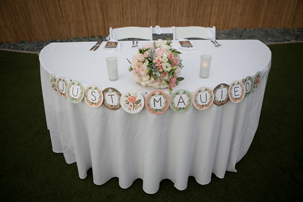 sweetheart table A Vintage, Rustic Wedding with a Tropical Twist in Lahaina, Maui