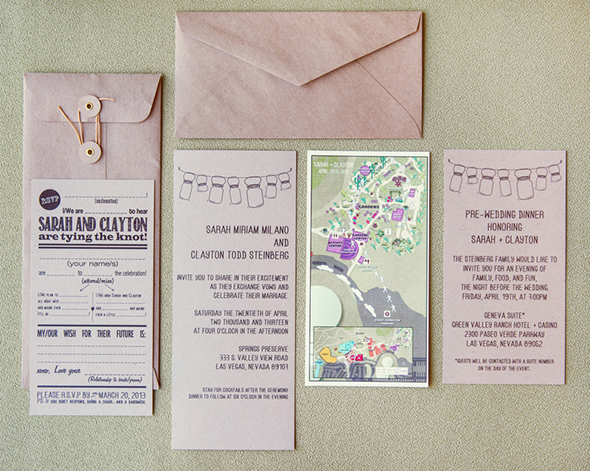 destination wedding invitation An Off the Strip Las Vegas Wedding