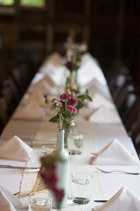 long wedding tables A Rustic Outdoor I Do in High Falls, New York
