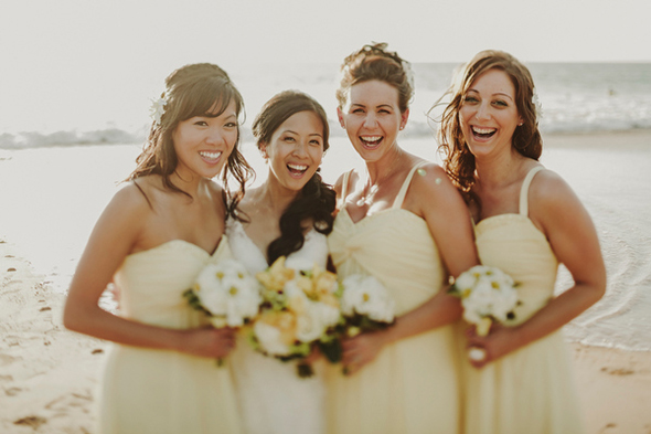 yellow bridesmaid dresses A Sweet Fairmont Kea Lani Maui Destination Wedding