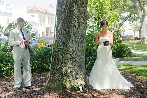 first look photos A Burlap Inspired Destination Wedding in Florida