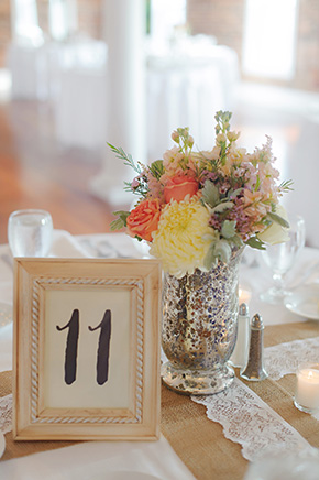 rustic wedding centerpieces A Burlap Inspired Destination Wedding in Florida