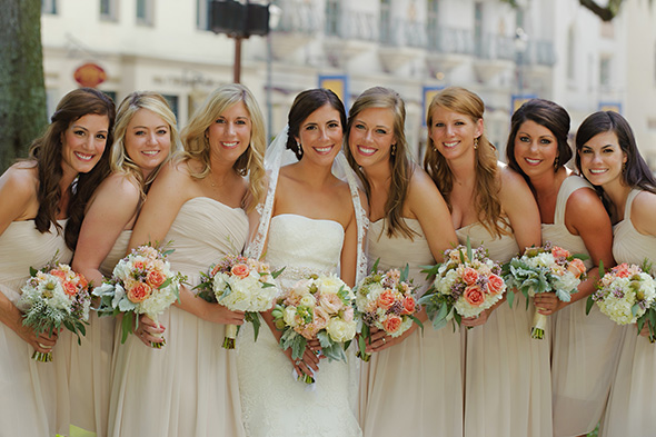 taupe bridesmaid dresses A Burlap Inspired Destination Wedding in Florida