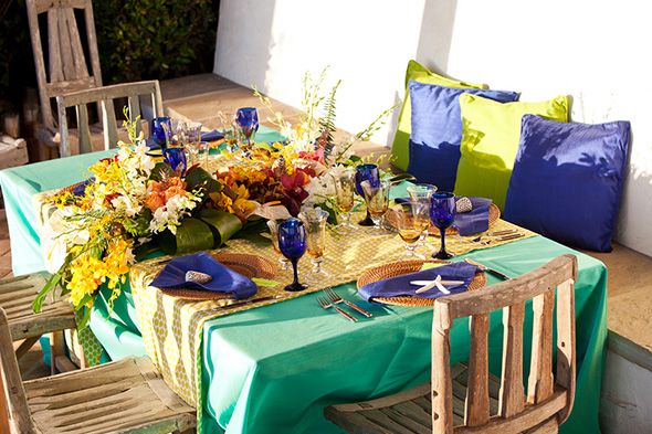 beach wedding tables Tropical Wedding + Honeymoon Ideas