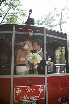 wedding trolley rides A Preppy Lake Wedding in Michigan
