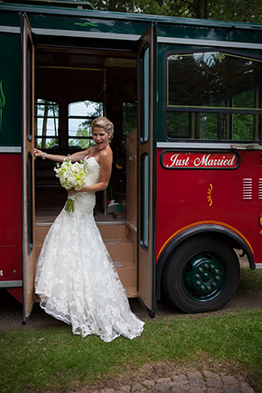 wedding trolley A Preppy Lake Wedding in Michigan
