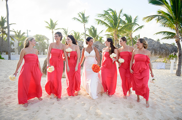 A beach wedding at the hard rock hotel punta cana for Coral bridesmaid dresses for beach wedding
