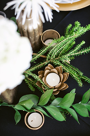 gold and green wedding Modern Beach Wedding Ideas at the Pacific Edge Hotel