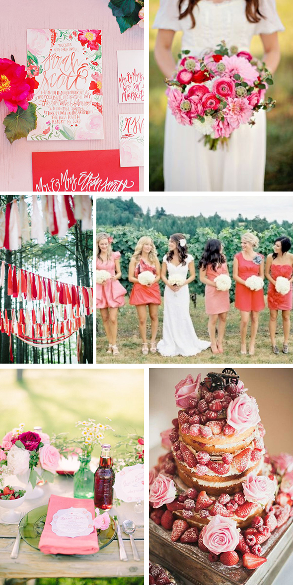 pink and red wedding palette