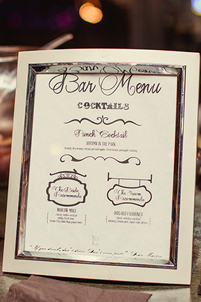 wedding bar menus