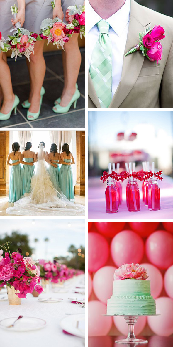 mint and fuchsia wedding