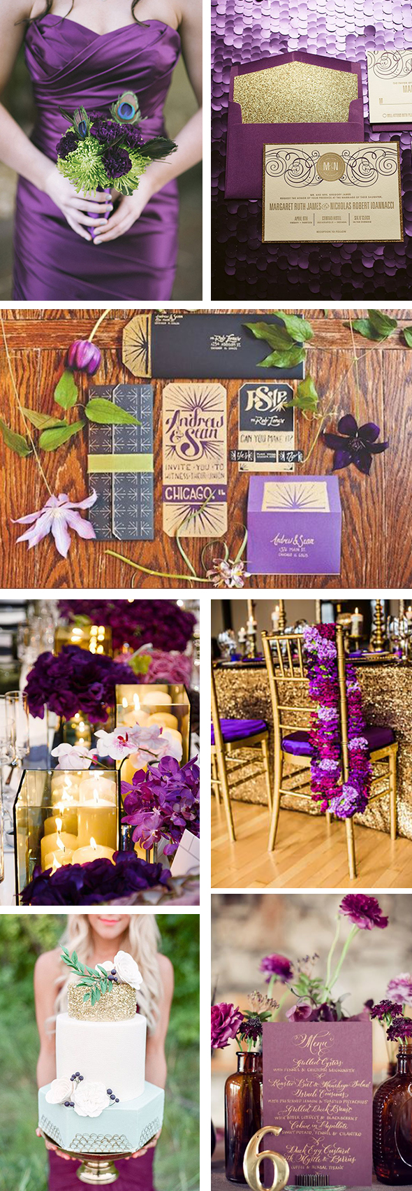 purple and gold weddings