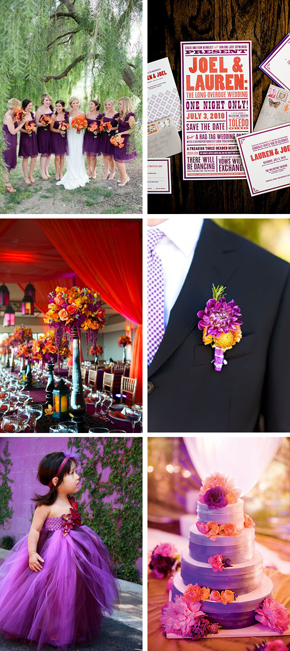 purple and orange fall weddings Purple + Orange Wedding Day Details