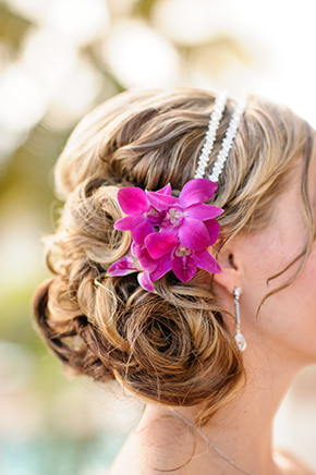 beach wedding hair St. Thomas USVI Destination Wedding in Purple